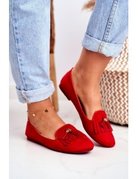 Women s Loafers Red Lords Fringe Blue Therese - FM051 RED