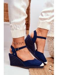 Women's Sandals On Wedge Heel Big Star Navy DD274A172 - DD274A172 NAVY