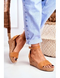 Women's Sandals On Wedge Camel MarryMe - LL-228P CAMEL