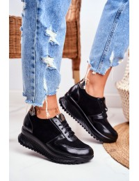 Women s Sport Shoes Leather Black Gianna - 1943 BLK