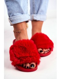 Stilingos raudonos spalvos šlepetės su puriu švelniu kailiuku - S-1 RED