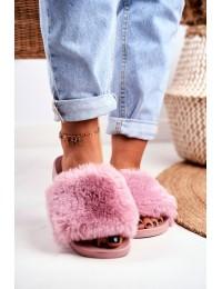 Stilingos rausvos spalvos šlepetės su puriu švelniu kailiuku - S-1 P/PINK
