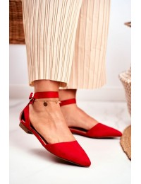 Women's Flat Ballerinas With A Belt Red Allison - CL73 RED