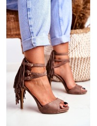 Women's Sandals On High Heel Taupe Gladiators Carnival - D-29 TAUPE