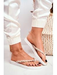Women's Flip Flops Braided Strap Beige Peggie - NK16 BEIGE