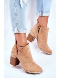 Women s Boots On High Hee Beige Trimmed Meliori - A5700-63 KHAKI