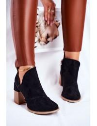 Juodos spalvos stilingi batai originaliu medžio imitacijos kulnu - A5706 BLK