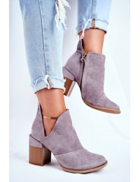 Pilkos spalvos stilingi batai originaliu medžio imitacijos kulnu - A5706-26 GREY