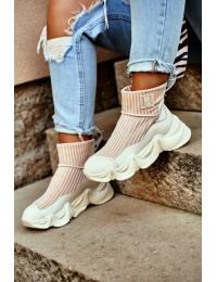 Women's High Sneakers Big Star White GG274608 - GG274608 WHITE/BEIGE
