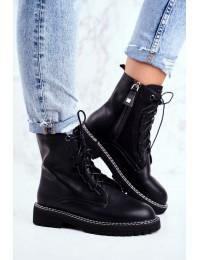 Women s Flat Hiking Boots Big Star Black GG274596 - GG274596 BLK