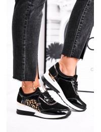 Women s Sport Shoes Sneakers Leather Black 21-7778 - 21-7778 BLK