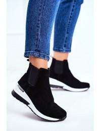 Women s Sport Shoes Sneakers Leather Black 21-7781 - 21-7781 BLK