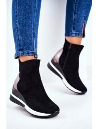 Women s Sport Shoes High Sneakers Black 21-10573 - 21-10573 BLK
