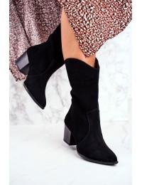 Stilingi aukštos kokybės kaubojiško stiliaus batai - 2580 028 BLK