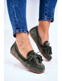 Women's Loafers Maciejka Leather Olive 04830-24 - 04830-24/00-5 OLIVE