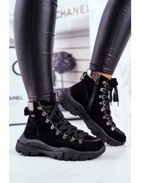 Women's Trekker Shoes Leather Suede Big Star GG274893 - GG274893 BLK
