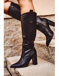 Juodi aukštos kokybės batai su kulnu - E9327 BLK