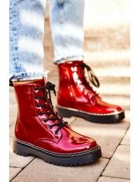 Stilingi aukštos kokybės suvarstomi auliniai batai - HX56 BURGUND