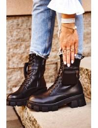 Madingi juodos spalvos batai su stilinga kišenėle - 837-24 BLK