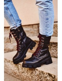 Madingi juodi batai su platforma ir paaukštintu suvarstomu aulu - 837-20 BLK