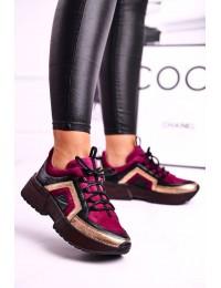 Women's Brogues Sneakers Leather Maciejka Burgundy 04731-23 - 04731-23/00-5 BURGUNDY