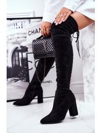 Stilingi juodi aukštos kokybės batai virš kelių - HX25 BLK