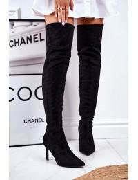 Stilingi juodi aukštos kokybės batai virš kelių - HX27 BLK