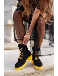Juodos spalvos madingi zomšiniai batai Black Yellow Malawi - UK13 BLK/YELLOW