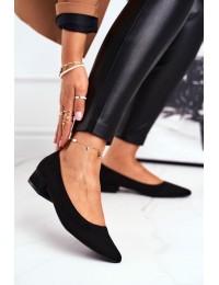 Elegantiškos juodos spalvos balerinos su žemu kulnu - CL70P BLACK