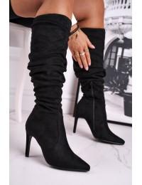 Elegantiški zomšiniai juodos spalvos ilgaauliai - BM217 BLK