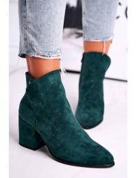 Tamsiai žalios spalvos aukštos kokybės elegantiški zomšiniai aulinukai - 21-10555 GREEN