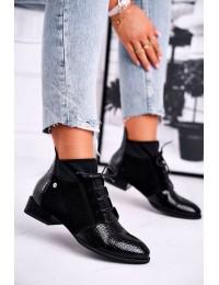 Stilingi aukštos kokybės juodi madingi natūralios odos batai - 04744-20/00-7 BLK