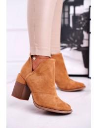 Rudos spalvos stilingi batai originaliu medžio imitacijos kulnu - A5706-32 CAMEL