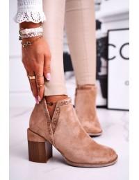 Rusvos spalvos stilingi batai originaliu medžio imitacijos kulnu - A5705-63 KHAKI