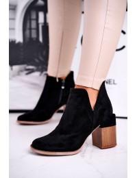 Rusvos spalvos stilingi batai originaliu medžio imitacijos kulnu - A5705 BLK