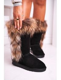 Stilingi šilti aukštos kokybės natūralios verstos odos batai su kailiuku - W19112 BLK