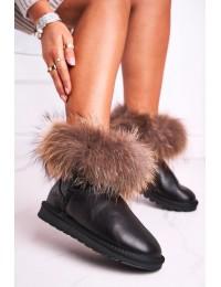 Natūralios odos UGG stiliaus šilti batai Snow Fox - 5820-1 BLK