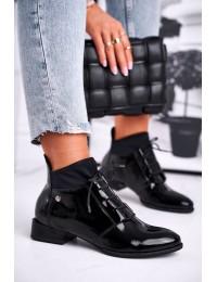Stilingi aukštos kokybės juodi madingi natūralios odos batai - 04744-01/00-7 BLK