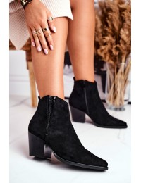 Juodos spalvos stilingi ir kartu elegantiški zomšiniai batai - 19051-11 BLK