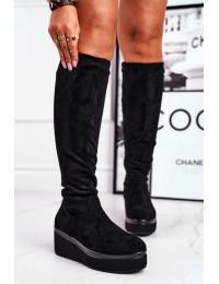 Women's high boots on platform Sergio Leone black KZ732 - BT732 BLK MIC