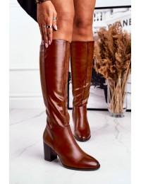 Elegantiški rudi stilingi ir praktiški ilgaauliai - KZ278 BROWN PU