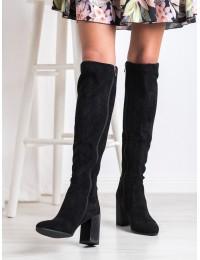 Elegantiški juodi aukštos kokybės zomšiniai ilgaauliai - FL3000B