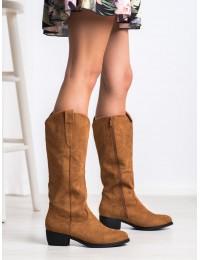Stilingi aukštos kokybės zomšiniai rudi ilgaauliai siuvinėtu laisvesniu aulu - S1763C
