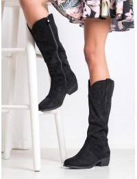 Stilingi aukštos kokybės zomšiniai juodi ilgaauliai siuvinėtu laisvesniu aulu - S1763B