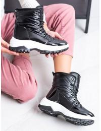 Šilti aukštos kokybės patogūs lengvi juodos spalvos batai - J2005B