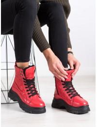 Raudoni šilti patogūs stilingi batai su platforma - BY-2003R