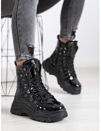 Juodi šilti patogūs stilingi batai su platforma - BY-2003B