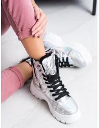 Sidabro spalvos šilti patogūs stilingi batai su platforma - BY-2003S