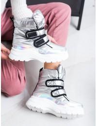 Blizgūs sidabriniai madingi šilti patogūs sniego batai - BY-2001S