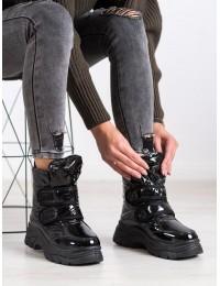 Blizgūs juodi madingi šilti patogūs sniego batai - BY-2001B
